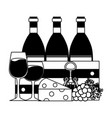 wine bottles glass cups vector image