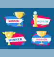 winner cup and statuette variety cartoon poster vector image