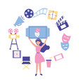 woman holding ticket cinema production film vector image