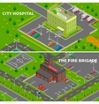 Hospital And Fire Station Isometric Banners vector image