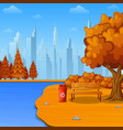 autumn city park with bench and trash vector image vector image