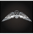 biker theme silver label with skull and wings vector image vector image