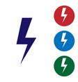 blue lightning bolt icon isolated on white vector image vector image