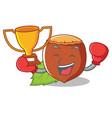 boxing winner hazelnut mascot cartoon style vector image vector image