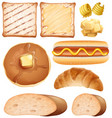 breakfast set with toasted and hotdog vector image