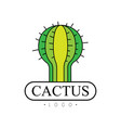 cactus logo desert plant green badge vector image vector image