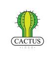 cactus logo desert plant green badge vector image