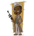 Cartoon gangster with tommy gun vector image