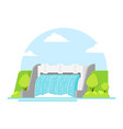 cartoon hydroelectric station on a landscape vector image