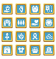 charity icons set sapphirine square vector image vector image