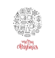 Christmas background with flat icons vector image vector image