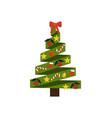 christmas tree made of ribbons vector image vector image