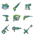 color outline house remodel power tools icons vector image vector image