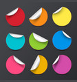 colorful circle empty stickers with bent corners vector image vector image