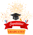 congratulations with graduate cap vector image