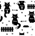 cute cats seamless pattern black and white vector image