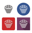 dotted icon cupcake in four variants vector image