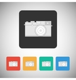 Film camera icon on square background vector image