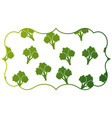 frame with broccoli pattern background vector image