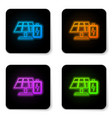 glowing neon solar energy panel and battery icon vector image vector image