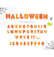 halloween font for kids pumking orange letters vector image vector image