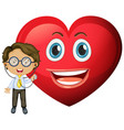 happy heart emoticon with a doctor cartoon vector image