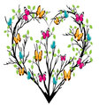 heart tree with butterflies vector image vector image