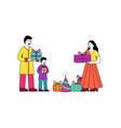 indian family celebrating diwali festival vector image