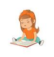 lovely little girl character sitting on the floor vector image vector image