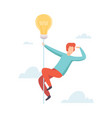 man flying light bulb searching for creative ideas vector image vector image