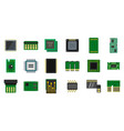 micro chip icon set flat style vector image