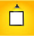 picture frame on yellow wall with hanging lamp vector image