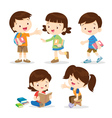 primary student boy and girl vector image vector image