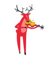 reindeer playing violin and animal with music vector image vector image