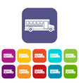 school bus icons set flat vector image vector image