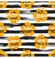 seamless pattern with hibiscus flowers on striped vector image