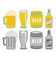 set icons of a beer drinks vector image vector image