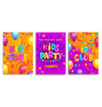 set kids flyers for party children zone club vector image vector image