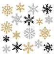 set of gold and silver snowflakes holiday vector image