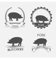 Set of pork label vector image vector image
