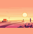 solar rural landscape in sunset with hills small vector image vector image