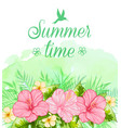 summer tropical background with red flowers vector image vector image