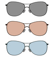 Sunglasses in three color lens vector image vector image