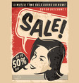 vintage sale comic style poster on old paper textu vector image