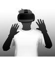 VR Headset User Silhouette Front Image vector image