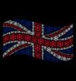 waving uk flag mosaic of snowflake items vector image