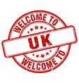 welcome to uk red round vintage stamp vector image vector image