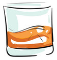 whiskey shot in glass color on white background vector image vector image