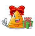 with gift cartoon christmas bells for christmas vector image
