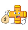 with money bag character line draw symbol plus vector image
